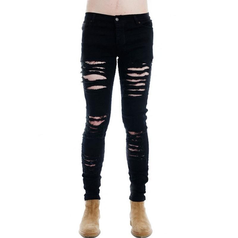 5c3e04ad8ceb ... men mens jeans wide bottom. Modern Day Hip Hop/Punk Rock Ripped Skinny  Jeans Fashion