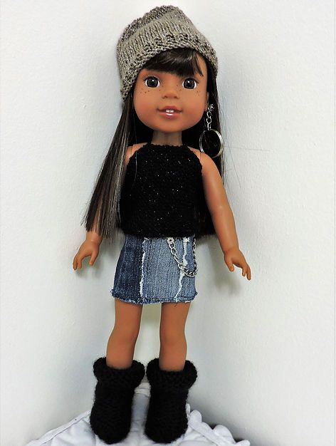 WW & H4HSlouchy boots & 2 hats | Dollie-Clothes free knitting doll patterns #dollhats