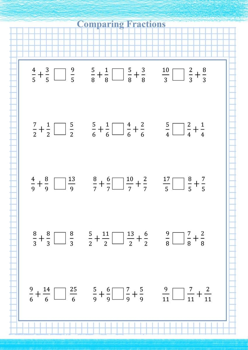 Adding And Comparing Fraction Free Math Worksheets in