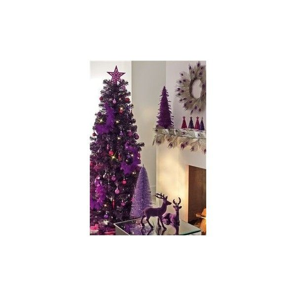 Purple Silver Christmas Wreath ❤ liked on Polyvore featuring home