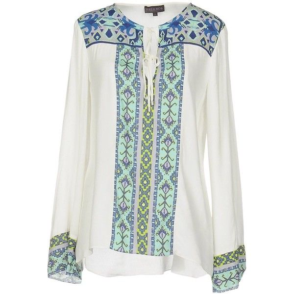 Hale Bob Blouse ($180) ❤ liked on Polyvore featuring tops, blouses, blue, lace up front long sleeve top, lace up long sleeve top, blue long sleeve blouse, hale bob top and blue blouse