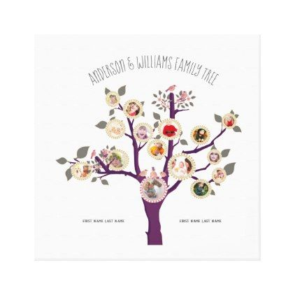 Family Tree 15 Photo Template Personalized Wallart Canvas Print