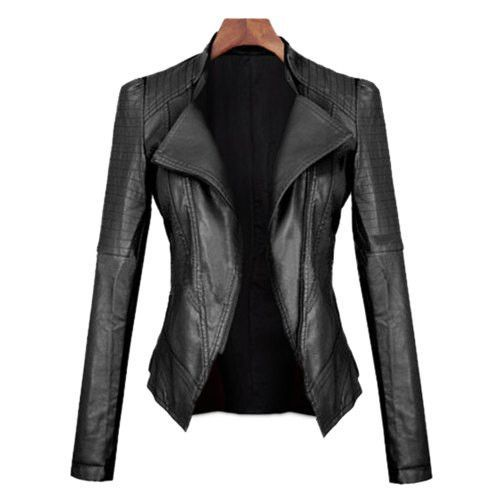 Collar Stylish Jacket Leather For Pu Down Black Turn Sleeves Long AAEw4OZx
