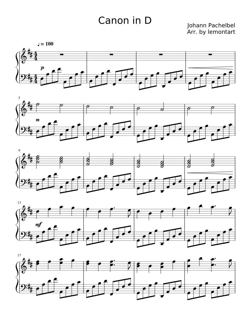Print And Download In Pdf Or Midi Canon In D This Is An Easy