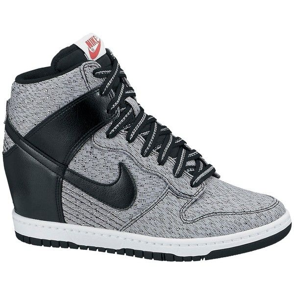 watch 8da50 3ab0f ... best price nike dunk sky hi mesh wedge trainers grey 64 liked on  polyvore c8006 5bd17
