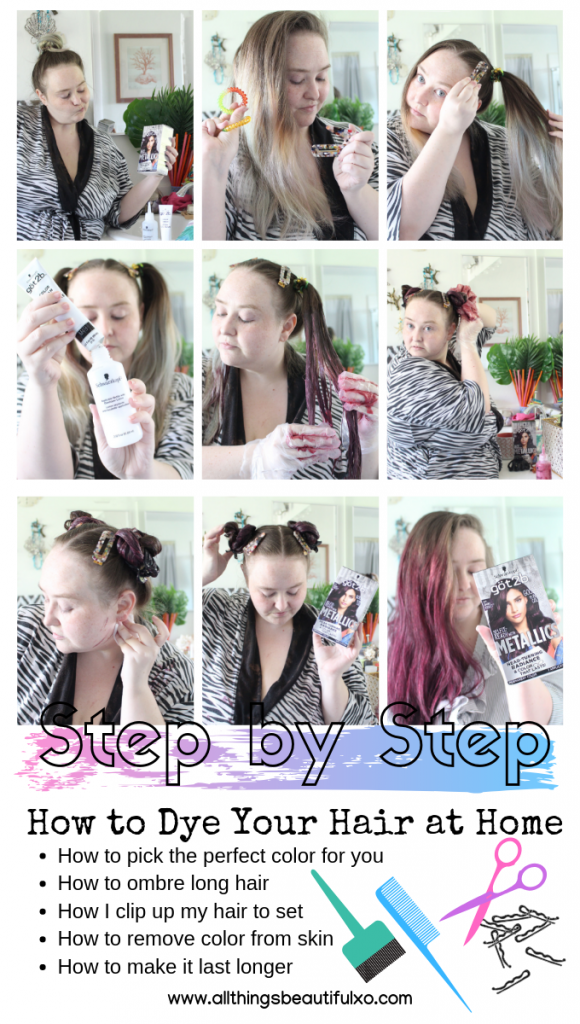 Diy At Home Hair Dye Tips Tricks Twisted Headband Styling Tutorial With Schwarzkopf Got2b Metallics Smoky Violet All Things Beautiful Xo Hair Dye Tips Metallic Hair Dye How