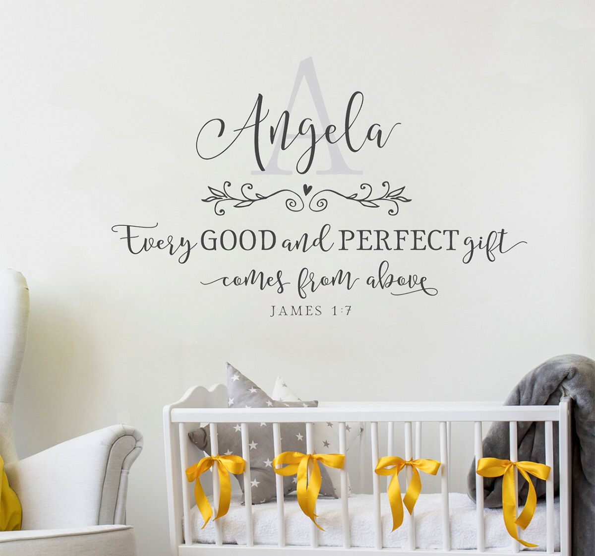 Nursery Wall Decal Every Good And Perfect Gift Monogram Wall - Monogram wall decal for nursery