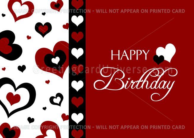 Happy Valentine's Day Birthday - Red, Black and White ...