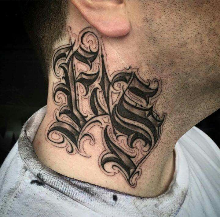 c42e432eb Neck Tattoo Lettering Fonts, Chicano Lettering, Calligraphy Tattoo, Tattoo  Script, Graffiti Lettering