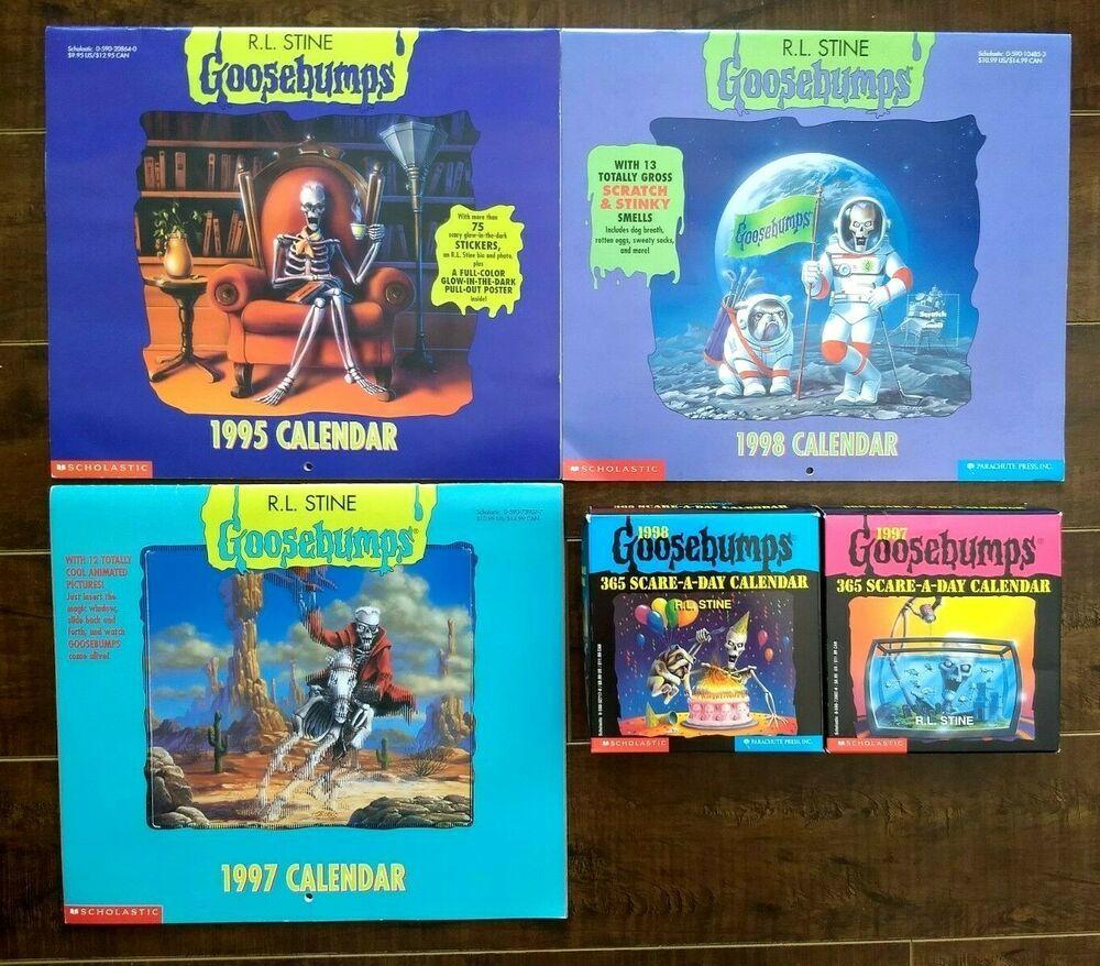 Goosebumps R L Stine Calendar Lot Of 5 1995 1997 1998 2x 365