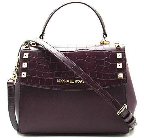 3750d65a3876 Michael Kors Karla Women's Medium Leather Satchel Crossbody Bag Purse  Handbag -Damson