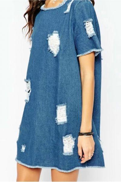 a2b32d3540 Women s Fashion Short Sleeve Distressed Denim Shift Dress