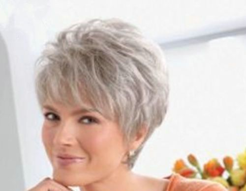 Short Silver Grey Wig Fashion Women\'s Ladies Natural Hair Full Wigs ...