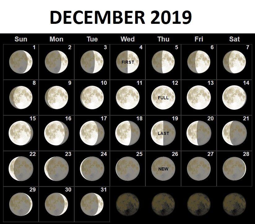 Moon Phases Calendar Desktop Background December 2019 december 2019 moon phases calendar | 2019 Calendars | Moon phase