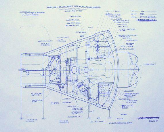 La NASA mercure Capsule Blueprint par BlueprintPlace sur Etsy - new blueprint and model question paper for class xi