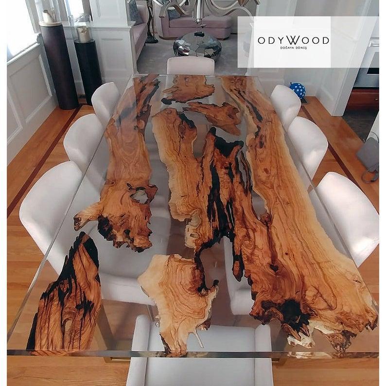 Olive Wood Epoxy Resin Dining Table Custom Order Etsy Epoxy