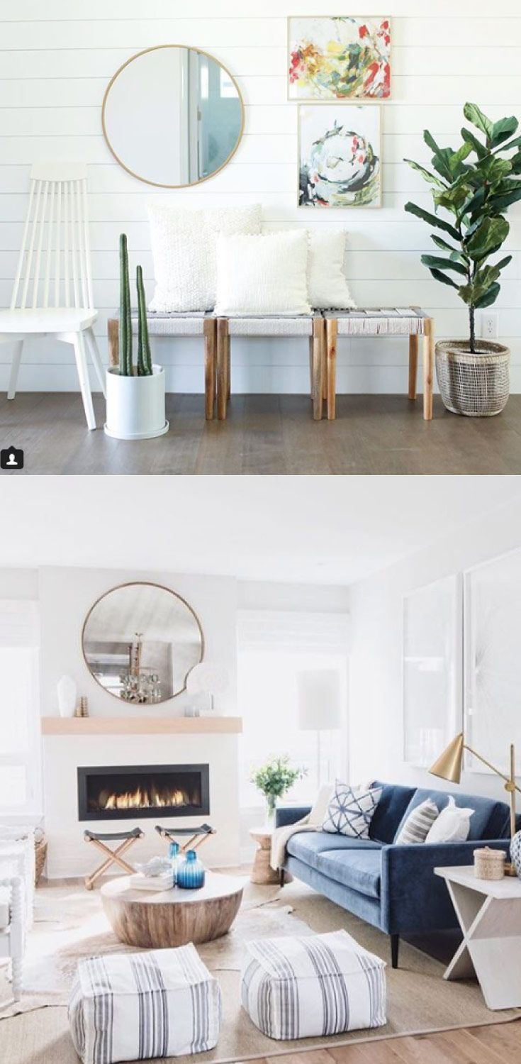 Love the use of these round mirrors in these modern white ...
