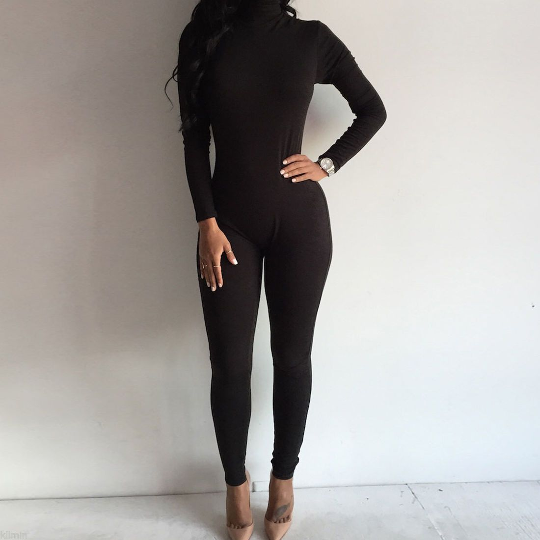 4cb2dc73e7c7 US Seller Women Fashion Turtleneck Long Sleeve Jumpsuit Bodysuit Bodycon  Rompers