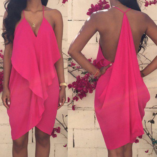 Sleeveless Asymmetrical Chiffon Dress