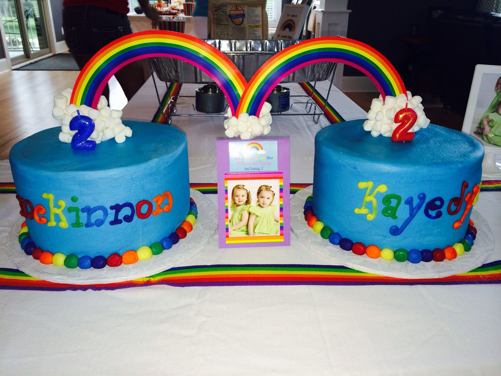 Rainbow Twin Birthday Cake