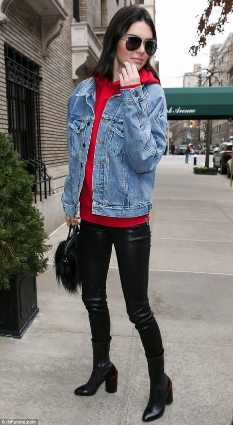 Kendall Jenner On Red Hoodie Outfit