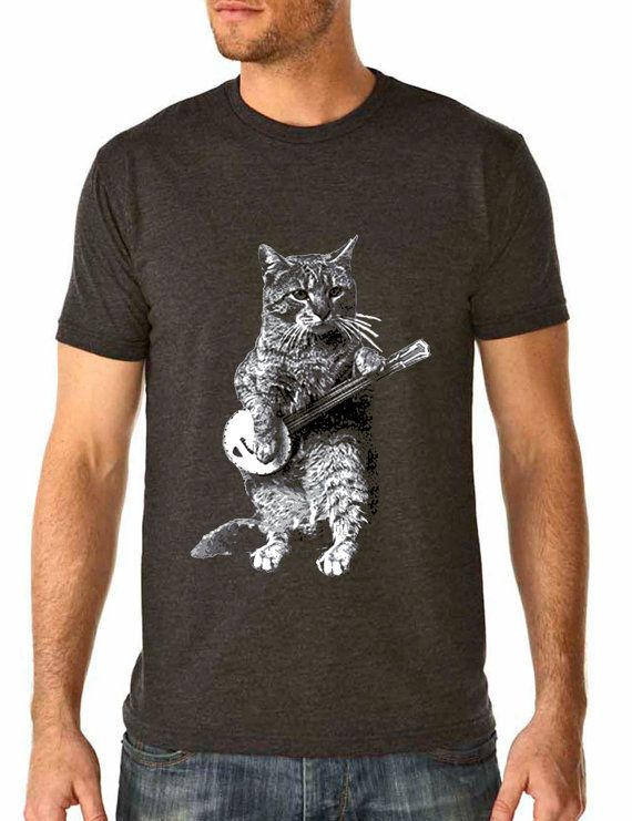 8d28b8256bb banjo shirt - cat shirt - vintage design BANJO CAT t-shirt - men's charcoal  grey crew neck vintage t-shirt