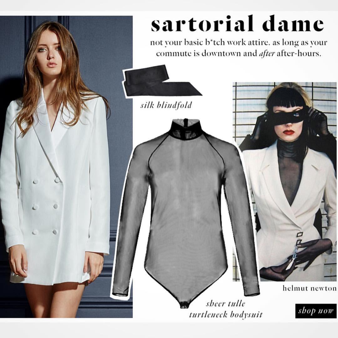 6899849b6d3f fleurdumal Blazer dress and sheer turtleneck bodysuit | Dresses ...