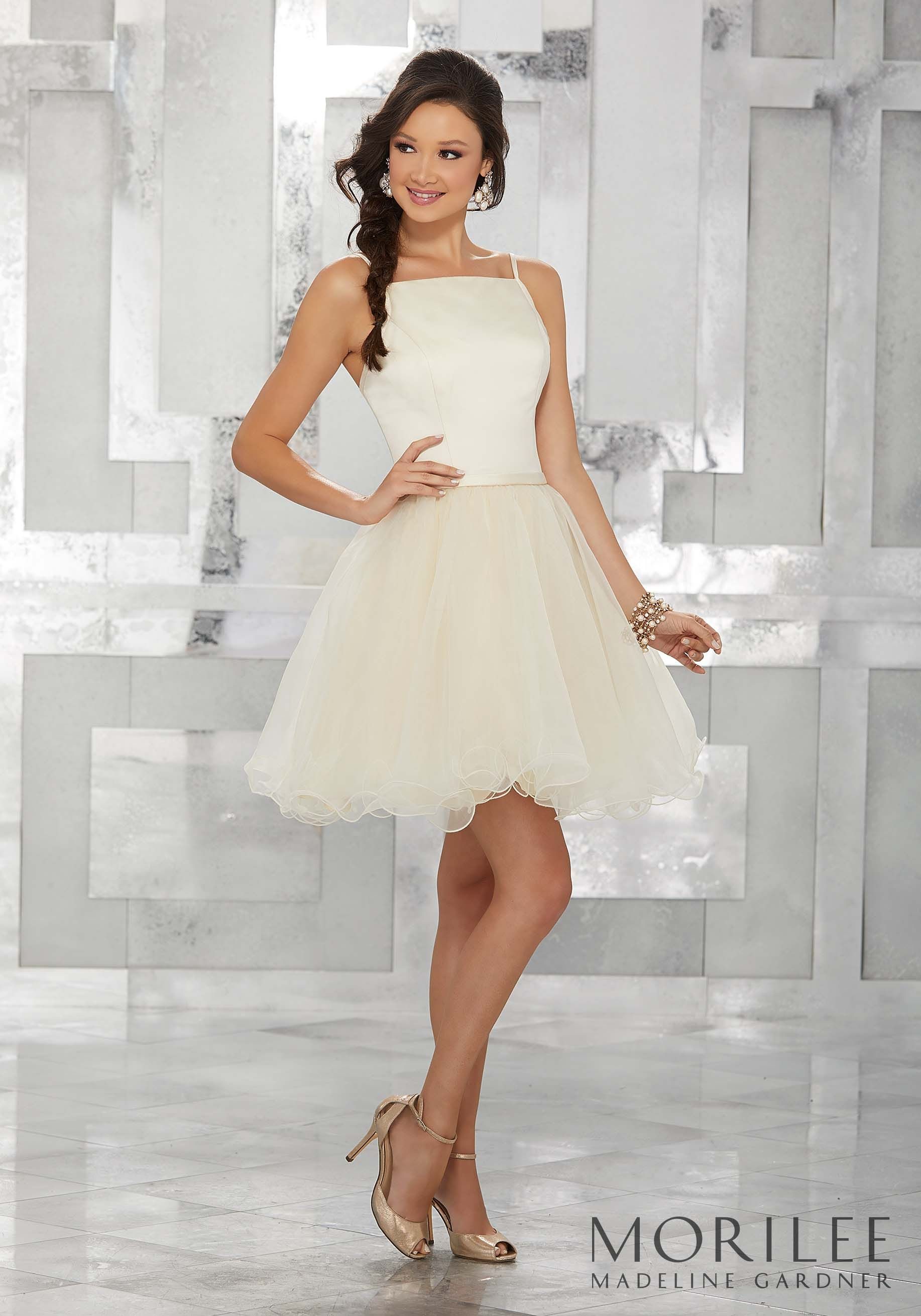 8fa704b55191 Champagne Satin and Organza Party Dress with Square Neckline. Colors  Available: Champagne, Lemonade, White, Blush, Lilac, Light Aqua, Pink,  Light Coral, ...