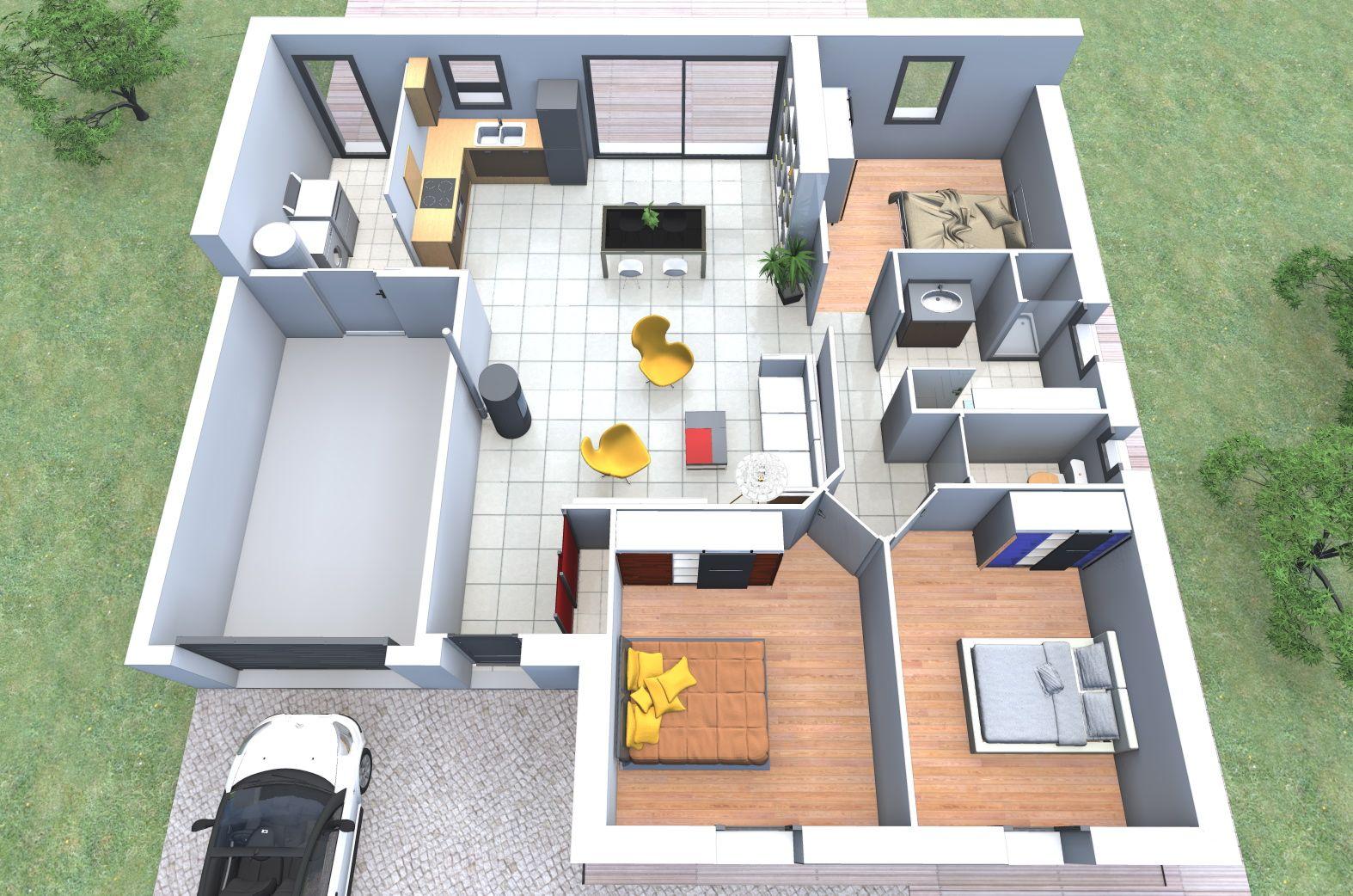 Maison Valtéa vous propose une vue aérienne 3d de son modèle de maison en L : Mona ...