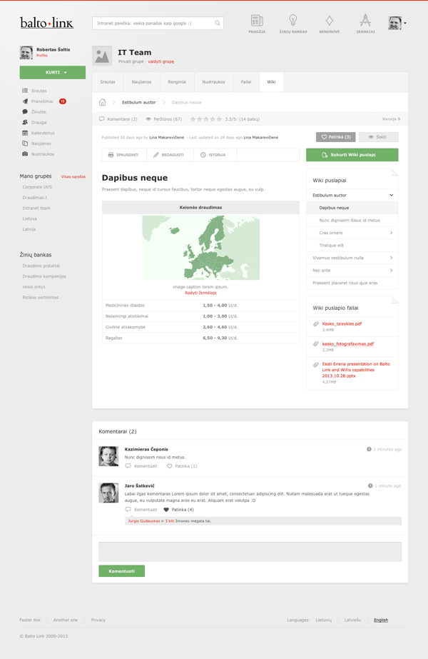 Wiki Balto Link Social Collaboration Intranet Design On Behance