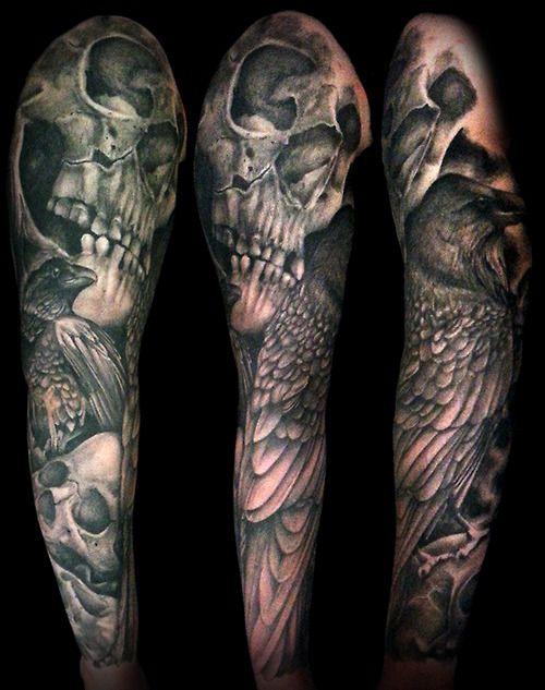 Skull And Raven Sleeve Martin Moore Skull Sleeve Tattoos Tattoo Sleeve Men Skull Sleeve,Emily Rhodes Designated Survivor