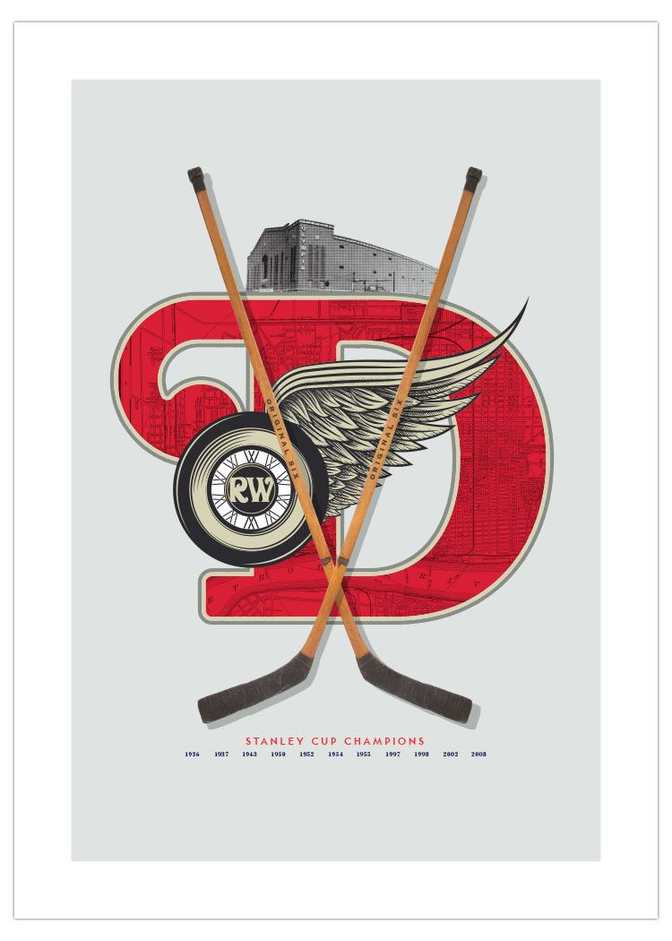 fa2964a6d7f Detroit Red Wings-Inspired Hockey Art Poster (Special Edition) from ManMade  Art