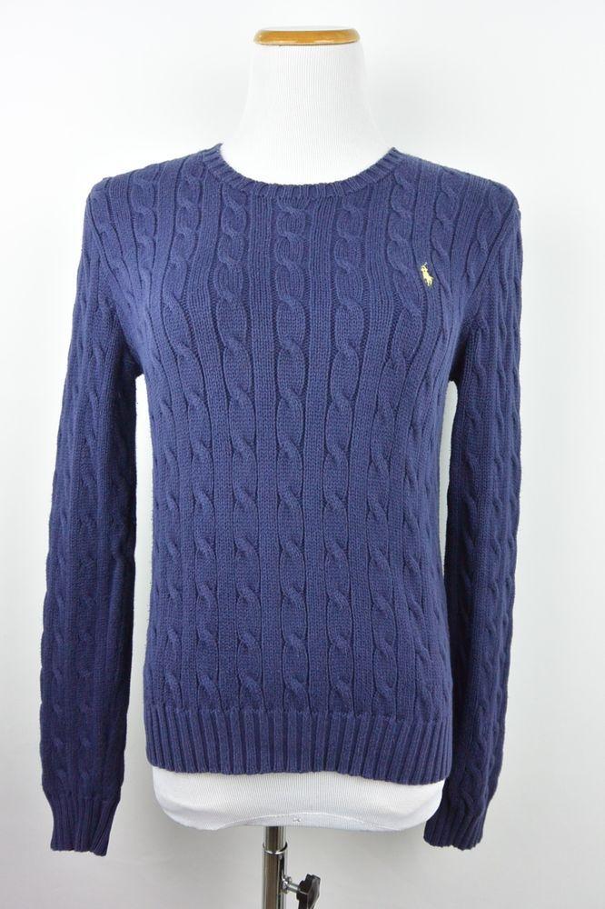 Ralph Lauren M Medium Navy Blue Crew Cotton Knit Womens Sweater #947 #RalphLauren #Crewneck