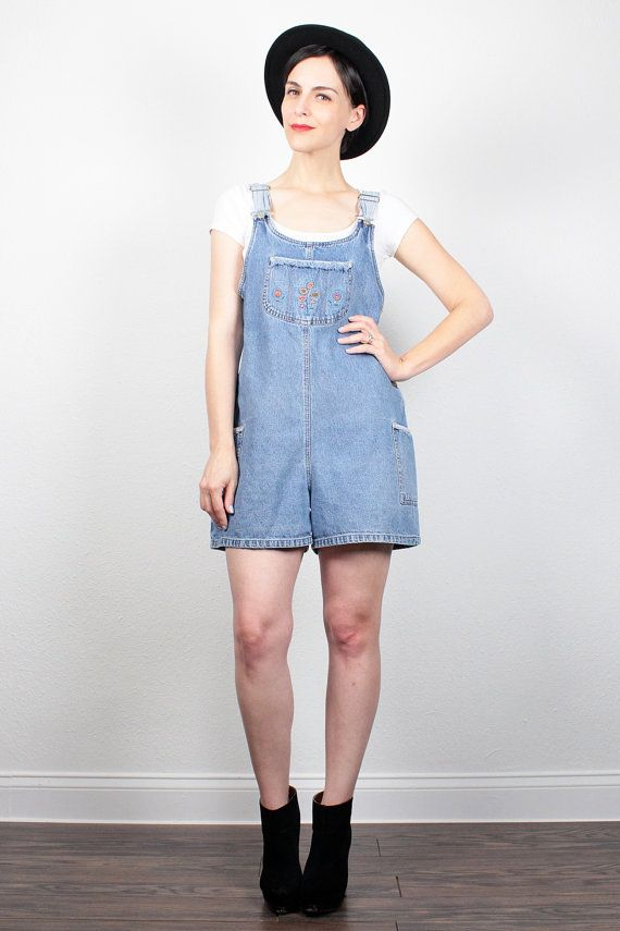 e4c6f2393381 Vintage 90s Overall Shorts Blue Jean Jumper Soft Grunge Floral Embroidered  Overalls 90s Denim Shortalls Romper Playsuit Shorts S M Medium by ...