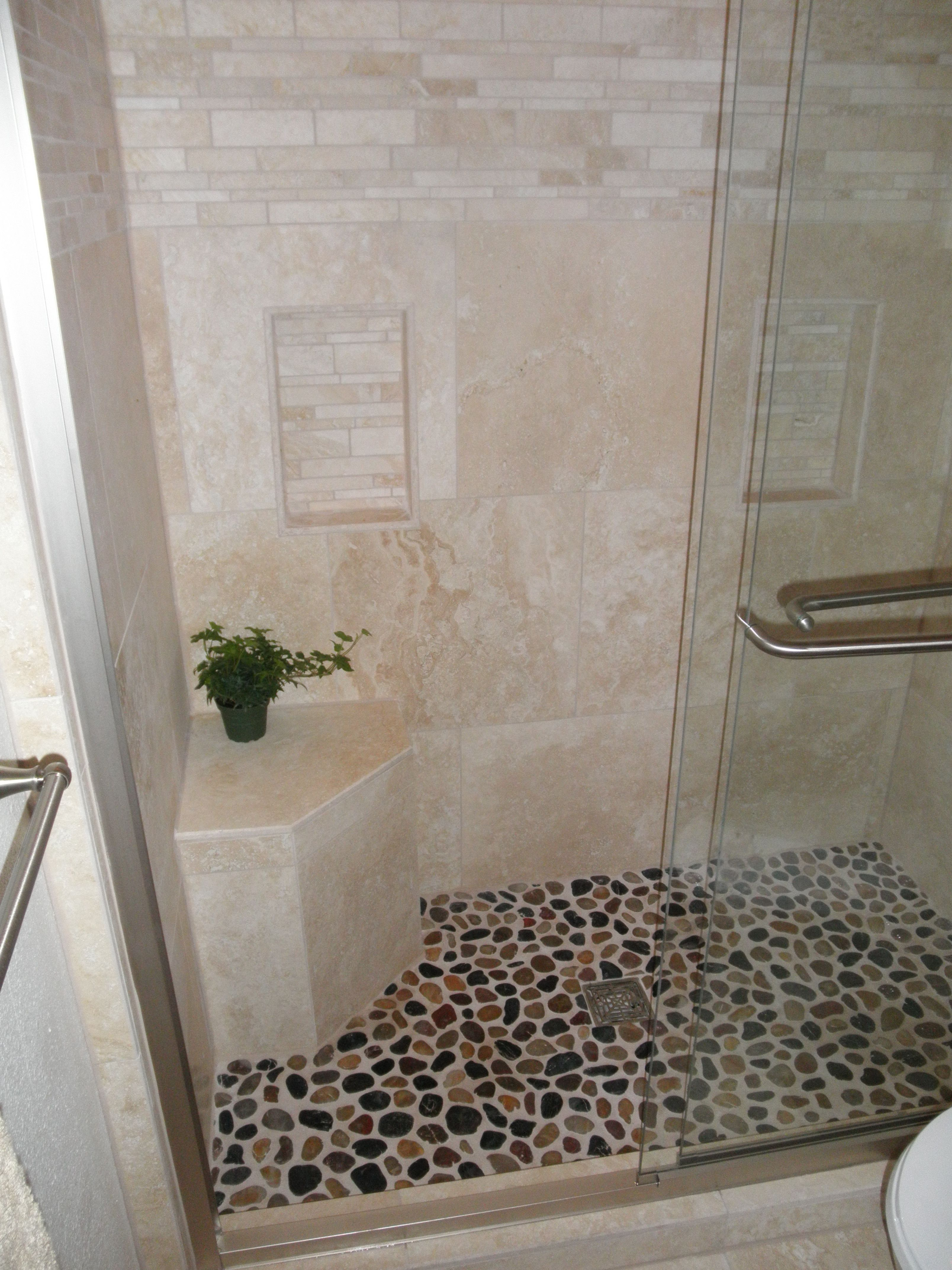 ELEGANT shower remodel Travertine and Pebble | Simply ...