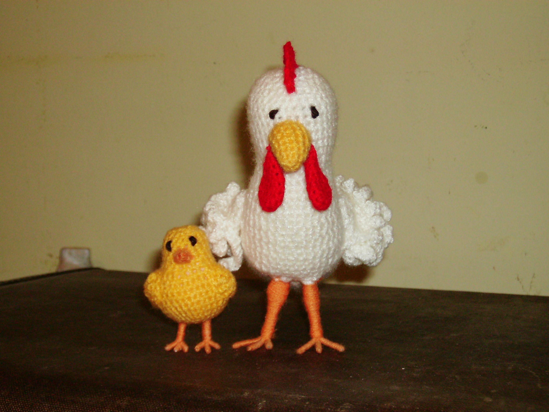 gallina y pollo crochet.