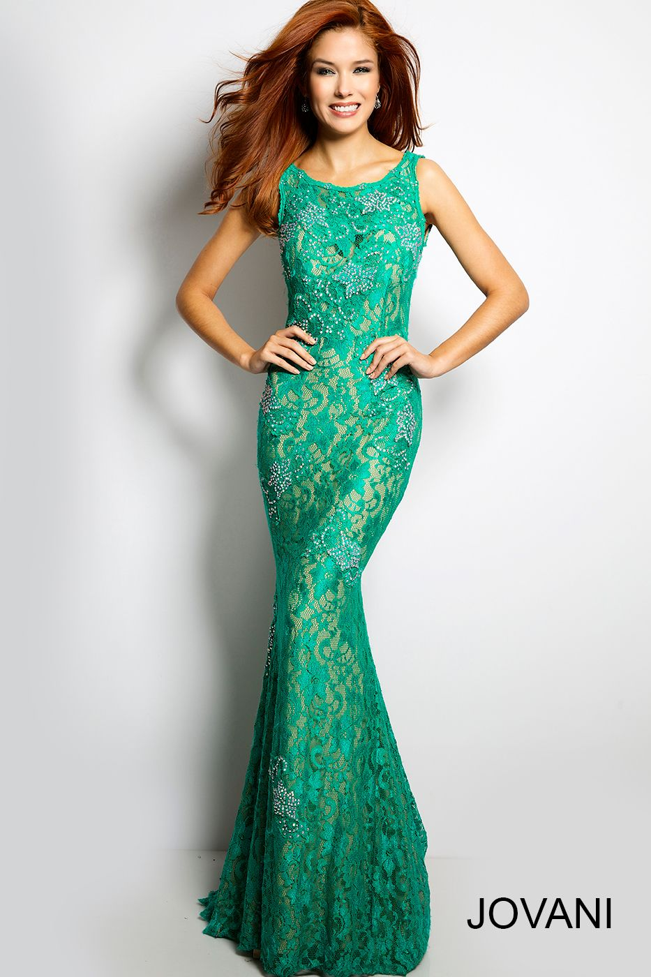 Jovani Lace Sleeveless Prom Dress #21789 in Green | One Night Only ...