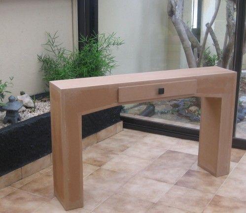 bonsoir voici la table console en carton termin e plus que la d co enduit peinture acrylique. Black Bedroom Furniture Sets. Home Design Ideas