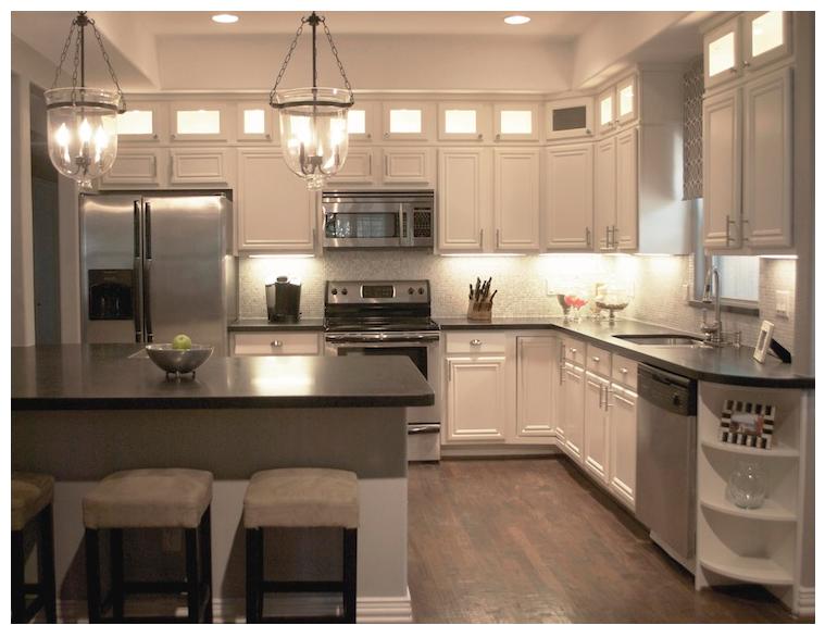 White Cabinets, Dark Countertops 3 | Antique white kitchen ...
