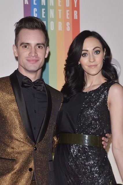 American singer, Brendon Urie and his wife Sarah Orzechowski...Both sparkly af