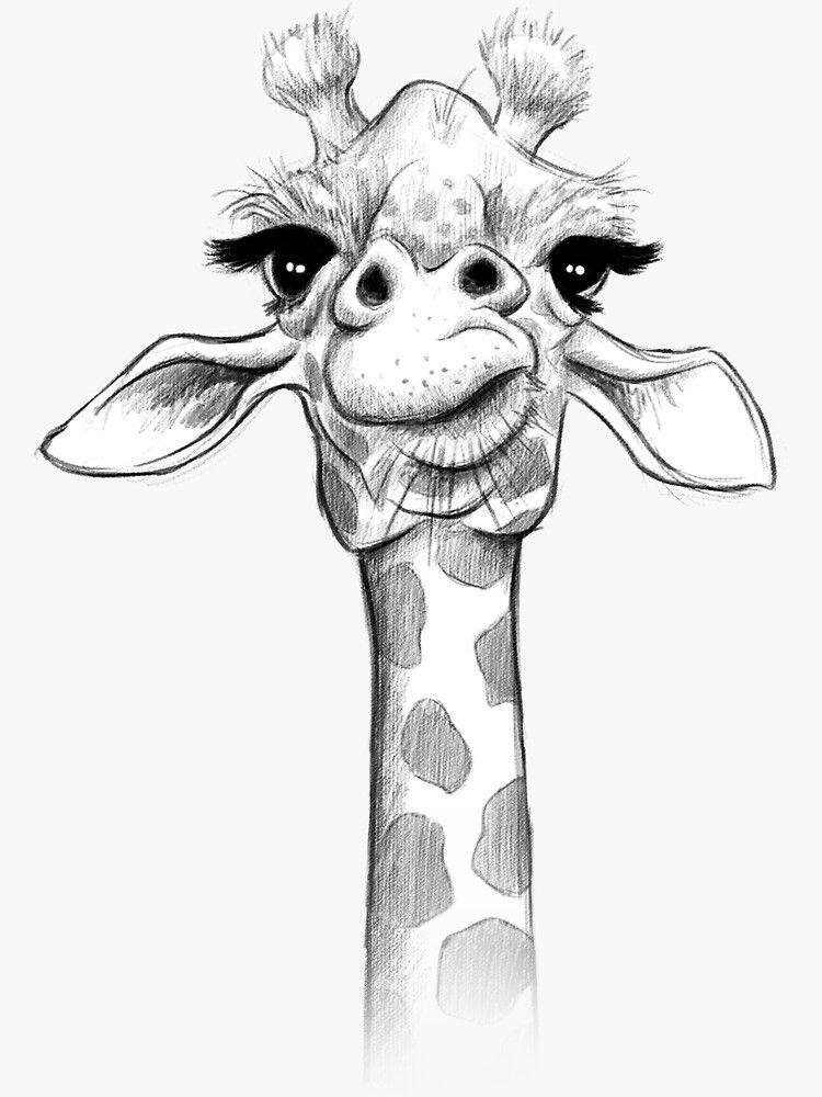 Sketch Giraffe Sticker By Jonthomson In 2020 Animal Drawings Sketches Giraffe Art Animal Drawings