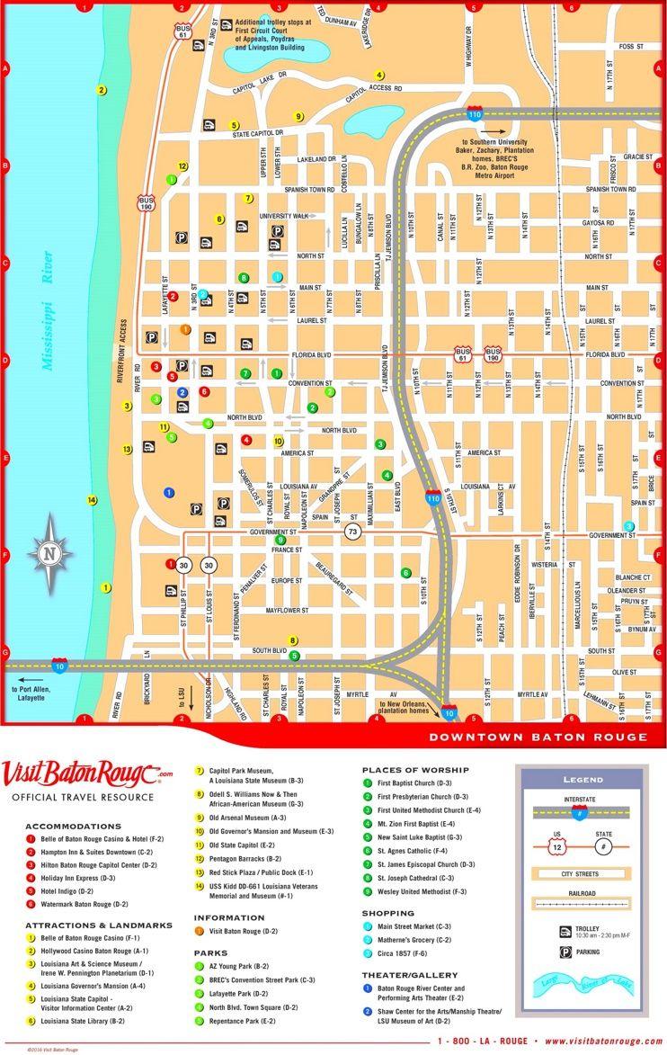 Baton Rouge downtown map Maps Pinterest Baton rouge Usa