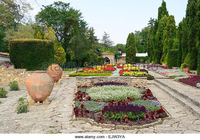 Old big clay pots at Balchik Botanical Garden, Bulgaria - Stock Image