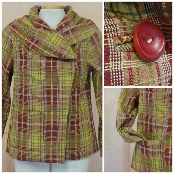 Shawl Collar Jacket texture plaid red yellow green by chelsiaberry, $175.00