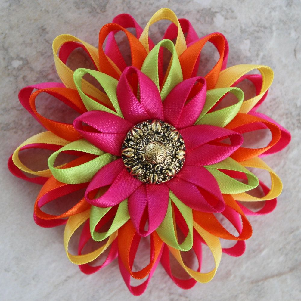 Hot Pink And Orange Flowers Corsage Pin So Colorful This Handmade