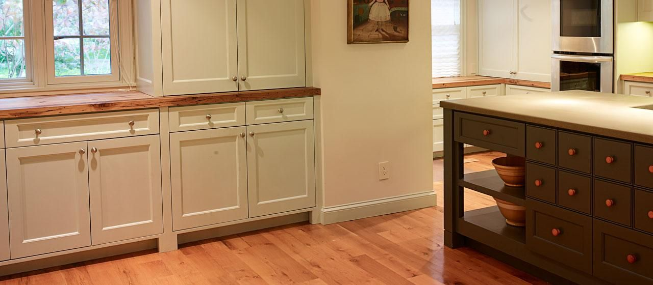 Reclaimed Antique Hickory Wood Tops With Reclaimed White Oak Solid Wood  Flooring   Elmwood Reclaimed Timber