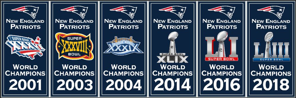 New England Patriots Replica World Champions Super Bowl Champions Banner Set Patriots New England Patriots New England