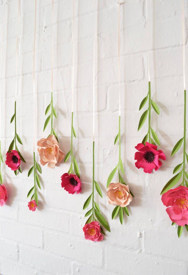 Set Of 10 Handmade Hanging Paper Flowers