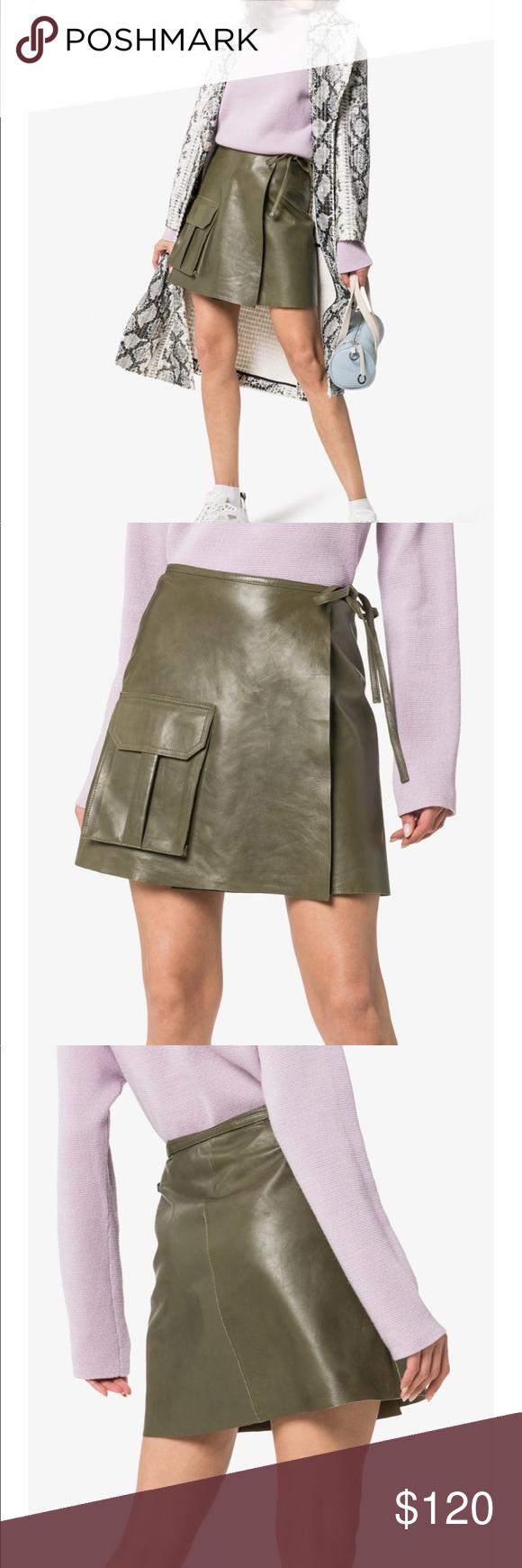 Ganni Meranti Utility Leather Wrap Skirt Eu38 Fashion Fashion Design Fashion Trends