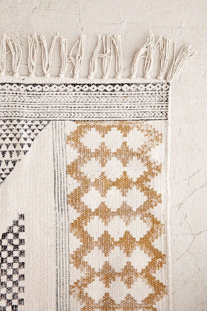 calisa block printed rug | awesome stuff, spaces and living rooms